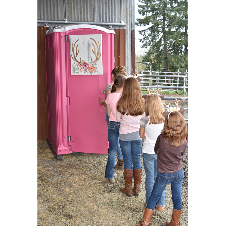 Line of girls waiting for the Pink Powder Room